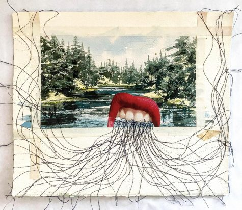 """Rhetoric"" (Sewn Collage) by Jason Farnsworth, Art Teacher"