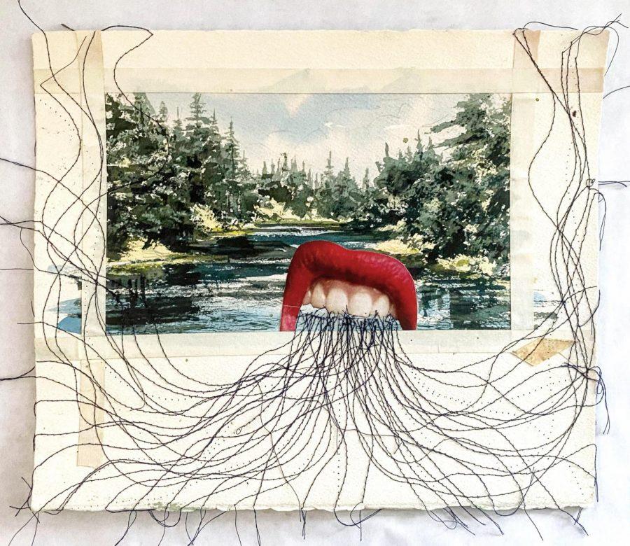 Rhetoric (Sewn Collage) by Jason Farnsworth, Art Teacher