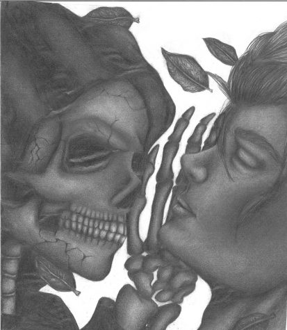 """Winner, April-May 2021 Contest: """"Life and Death"""" by Kristin Rule, Class of 2023, Pencil Drawing"""