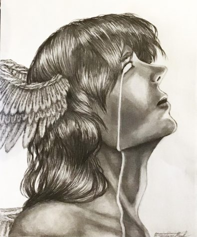 The Fall of an Angel by Kristin Rule, Class of 2023, Pencil Drawing