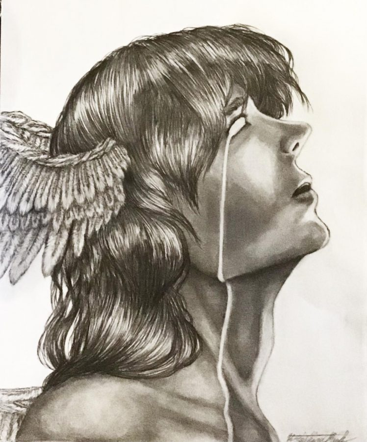 The+Fall+of+an+Angel+by+Kristin+Rule%2C+Class+of+2023%2C+Pencil+Drawing